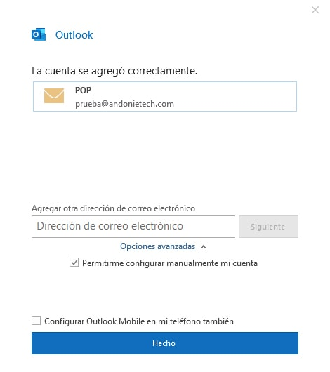 Cómo configurar un correo en Outlook 2019